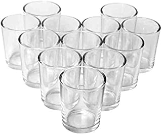 Hosley Set of 12 Crystal Clear Glass Tea Light Holder. Ideal for Weddings Spa Aromatherapy Tealights Candle