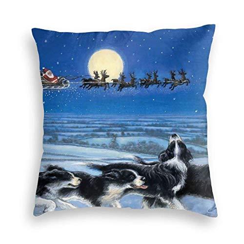 Lewiuzr Border Collie BC Dog Christmas Snow Square Throw Pillow Fundas Decoraciones Funda de cojín 24X24 Pulgada