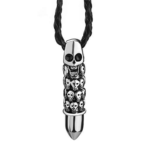 SWAOOS Colgante De La Bala del Cráneo del Niño De Los Hombres con 24'Negro Collar Joyería De Moda