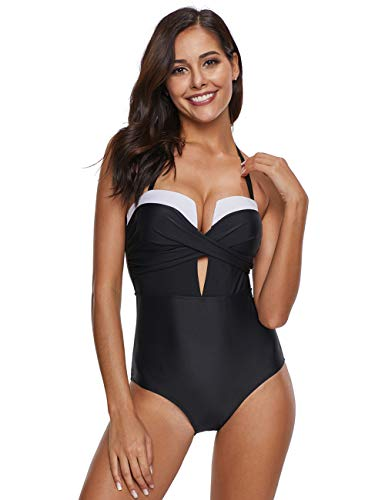 FeelinGirl Damen Neckholder Push Up BadekleidFigurformender Bunt Badeanzug mit Röckchen Bauchweg Einteiliger Bikini M Mehrfarbig