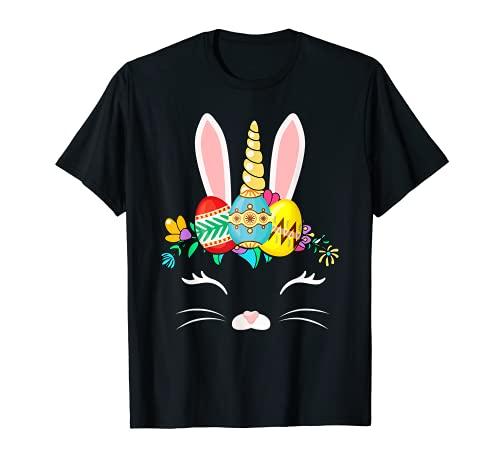 uova di pasqua unicorno Bunny Unicorn Buon giorno di Pasqua 2021 colore uova regali Maglietta