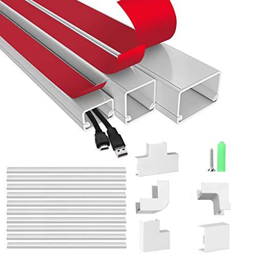 AGPtek 40cm * 10 Kabelkanal Set, Kabel Management System zum Verstecken von Kabeln, Drähten und Leitungen, 4m Kabelkanalabdeckung Set zum Schreibtisch, Computer, TV zu Hause und Büro