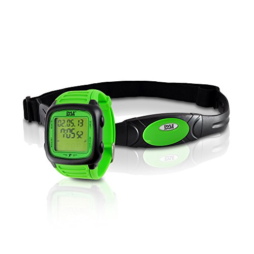 Pyle Smart Fitness Heart Rate Monitor - Digital Sports Wrist Watch Activity HR Tracker w/Chest Strap, 3D Sensor, EL Backlight, Alarm, Used in Exercise or Running, for Men and Women PHRM76GN (Green)