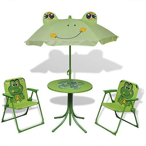 Juego de mesa de picnic y sombrilla para niños, juego de bistrot plegable para exteriores, color verde