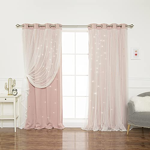"""Best Home Fashion Tulle Overlay Star Cut Out Blackout Curtains - Stainless Steel Grommet Top - Dusty Pink - 52"""" W x 84"""" L (Set of 2 Panels)"""