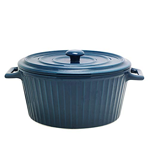 Jomop Casserole Dish with Lid 1.1 Quart Ceramic Casserole Pan for Bakeware Oven Colorful (1, Navy Blue)