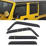 PLDDE 4 pcs For 07-18 Jeep Wrangler JK 4-Door Front+Rear Sun/Rain Guard Outside Mount Window Visors