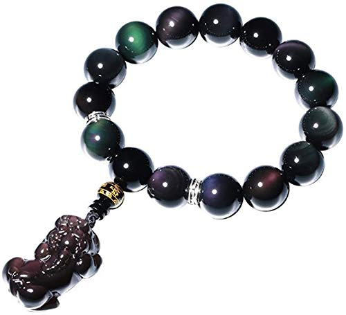 Plztou Obsidian Feng Shui Bracelet Rainbow Eyes Transfer Buddha Beads Pixiu/Piyao Crystal Accessories Pendant Handmade Stringing Attracting Wealth Love for Men/Women,12mm (Size : 12mm)