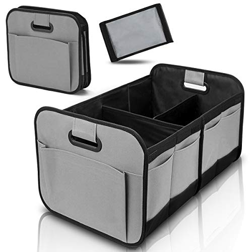 Trunk Organizer with Foldable Compartments and Reinforced Handles for Auto SUV Truck Minivan Grey