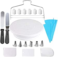 Cake Decorating Supplies,21pcs Cake Decorating Kit with Cake Rotating Turntable, Icing Spatulas,Cake Scrappers, Cake Cutte...