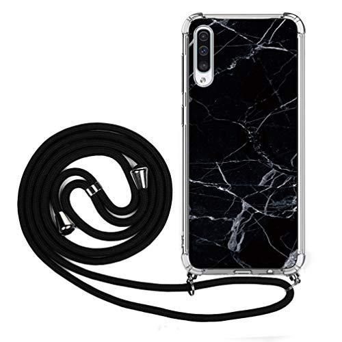 Handykette Handytasche Kompatible für Samsung Galaxy A50 Hülle Silikon Hülle Cover Handyhülle Umhängeband Trageschlaufe Kordel Lanyards Schutzhülle Schnur Bumper Hand Strap Anhänger-Schwarz Marmor