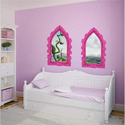 3D Castle The Giant Beanstalk Fairy Tale Folk Tale Wall Decal Alternative 3D Window View Wall Decals Funny Stickers Vinyl Sticker for Kids Bedroom Wall Art Medieval Decor