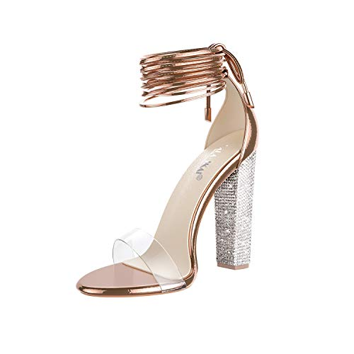 LALA IKAI Women's Gold High Heels Sandals with Rhinestone Ankle Strappy Clear Chunky Heels Dress Party Pumps Shoes Rose Gold 8.5