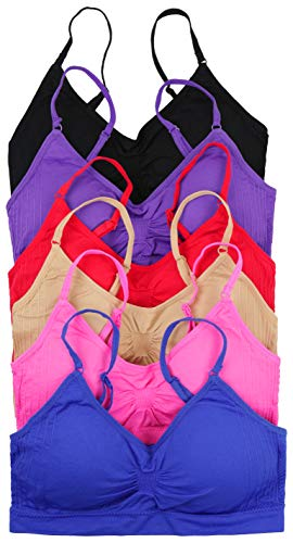 ToBeInStyle Women's Pack of 6 Solid Color Wire-Free Padded Sports Bralette - Assorted - One Size