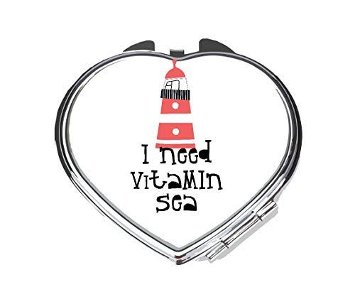 Recorte el faro Sealife Necesito Vitamina Sea Statement Espejo de bolsillo compacto - forma de corazón plateado