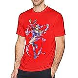 huatongxin Dark Magician Girl Yugioh Hombres Camisetas Negras Tops Camiseta de Cuello Redondo Camisetas