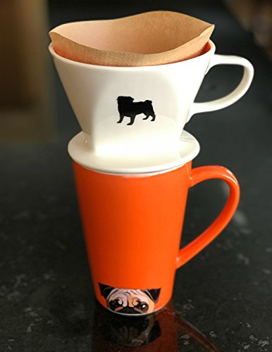 Pug Coffee Pour Over and Ceramic Mug Set by Simply Charmed