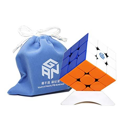 OJIN Ganspuzzle GAN356 M Numerico IPG GES + 3x3 Cubo Gan 356 M Cubo Puzzle Gan 356 M con Un Sacchetto cubo e Un treppiede cubo (Light Edition Stickerless)