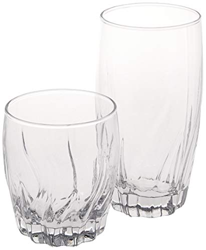 Anchor Hocking Central Park Small and Large Drinking Glasses, Set of 16
