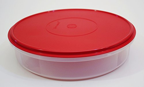 Tupperware Large 12' Round Pie Taker Container, Holiday Red Seal