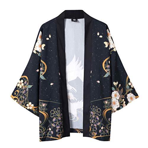 Kimono Cardigan con Estampado, Dragon868 Hombre Mujer Chaqueta Manga 3/4 Tops Blusa, Unisex Hippie Cloak Vintage Estilo JaponéS Ropa de Capa Japones Abrigo TúNica, Negro, M-XXL
