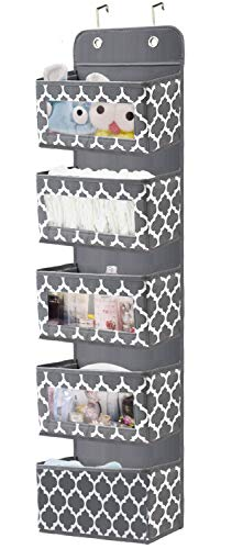 Over The Door Hanging Organizer with 5 Large Clear Window Pocket - Wall Mount Storage Organizer with 2 Metal Hooks for Pantry Baby Nursery Bathroom Closet Dorm 1 Pack (Grey)