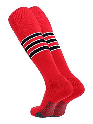 TCK Elite Performance Baseball Socken Dugout Softball Herren Damen, Herren, Scarlet/White/Black, X-Large