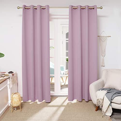 Deconovo Lavender Curtains 52x84 Inch, Room Darkening Drapes, Thermal Grommet Curtains for Girl's Bedroom (Lavender Pink, 52x84 Inch, Set of 2)