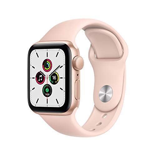 Newest Apple Watch SE (GPS Model) - 40mm Gold Aluminum Case and Pink Sand Sport Band + Power Bank for Belkin iPhone + Apple Watch 6700mAh