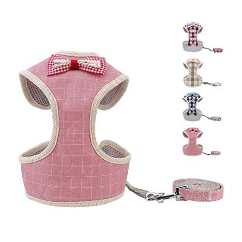 voopet Hundegeschirr, leicht an- und auszuziehen, gepolstert, Netz-Vorderweste, mit Leine, verstellbares Haustier-Geschirr mit süßer Schleife für kleine Hunde und Katzen