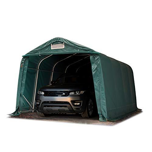 TOOLPORT Garagenzelt Carport 3,3 x 4,8 m in dunkelgrün Weidezelt Unterstand Lagerzelt ca. 550 g/m² PVC Plane und Stabiler Stahlrohrkonstruktion