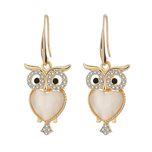Un-brand 1 par de pendientes para mujer, con diamantes de imitación, diseño de búho