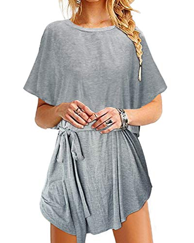 YOINS Sommerkleid Damen Tunika Tshirt Kleid Bluse Kurzarm MiniKleid Boho Maxikleid Rundhals ,Bindegürtel-grau,CN XXL