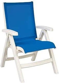Grosfillex US532004 Stackable Belize Midback Folding Chair, White Frame & Blue Sling (Case of 2)