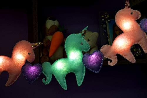 Baby Zimmerbeleuchtung Einhorn Lichterkette LED Lichterketten 6 Einhörnern und 5 Herzen