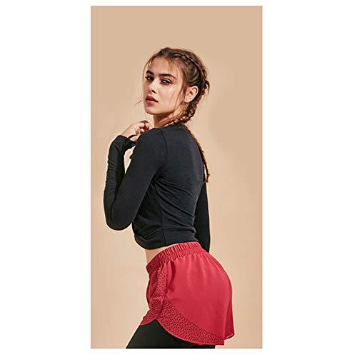 LDDOTR Langarm T-Shirt Frauen Yoga Tops Langarm Mit Daumenlöchern Sport T-Shirts Für Lauftraining Yoga Fitness,Schwarz,M