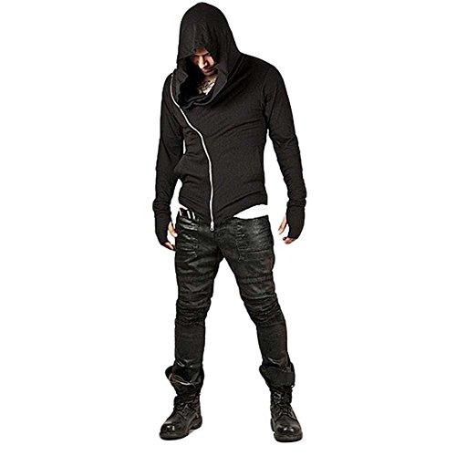 ZUEVI Men's Cool Side Zipper Assassin's Robe Hoodies Cosplay Hooded Sweatshirts (Black-XXL)
