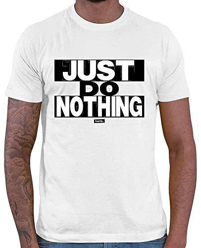 HARIZ Herren T-Shirt Just Do Nothing Sprüche Schwarz Weiß Inkl. Geschenk Karte Weiß M