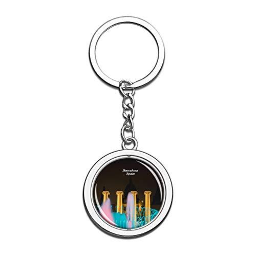 Hqiyaols Keychain Spanien Der magische Brunnen Barcelona Kristall Drehen Rostfreier Stahl Schlüsselbund Reisen Stadt Andenken Schlüsselring