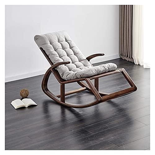 DGDF mecedora nueva mecedora china madera nogal balcón jardín ocio perezoso salón silla anciano fácil silla 135x65x85cm