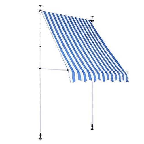 Emoshayoga Wetterfeste 4.0x1.2M Stabile höhenverstellbare Gartenhaus-Fenstertür Markise Einziehbare manuelle Überdachung für Aktivitäten im Freien(Blue and White Strips)
