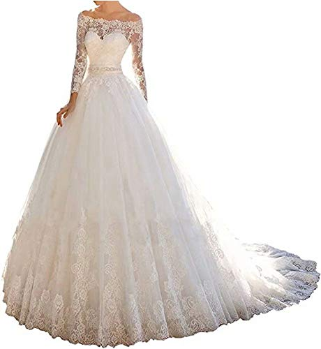 Yuxin Princess Lace Off Shoulder Wedding Dress for Bride 2020 Long Sleeves Ball Gown Bridal Dresses White US14