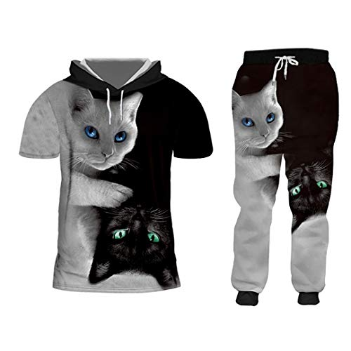 3D Negro Blanco Gato 2 Piezas Zip Sudaderas Trajes Hombres/Mujeres Sudadera Joggers Set