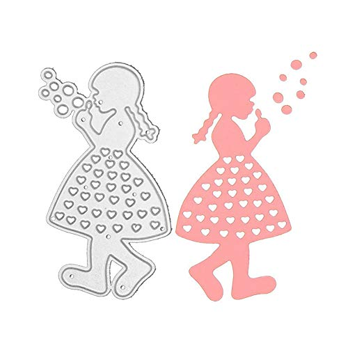 Little Girl Blowing Bubbles Cutting Dies for Card Making, Human DIY Paper Scrapbooking Die-Cuts for Card Making Clearence,Metal Cutting Dies Stencil