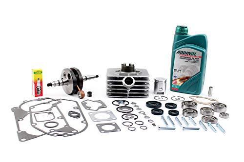 Mega motorset incl. cilinder zuiger krukas olie lager afdichtset bougie en meer voor Simson S51