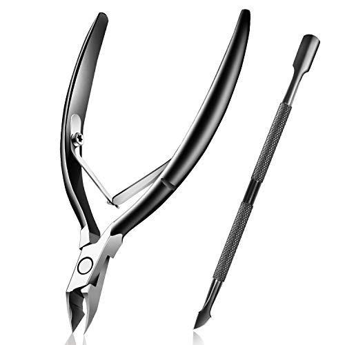 Cuticle Trimmer with Cuticle Pusher, Easkep Cuticle Remover Cuticle Nipper Professional Stainless Steel Cuticle Cutter Clipper Durable Pedicure Manicure Tools for Fingernails and Toenails