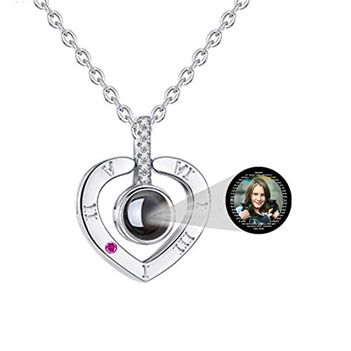 Custom Photo 100 languages I Love You Projection Necklace Unique Interesting Valentine's Day Anniversary Mother's Day Birthday Jewelry Ideas(Silver3 18)