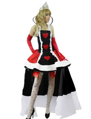 Yummy Bee - Alice im Wunderland Herzdame Königin der Herzen Karneval Fasching Kostüm + Strümpfe Damen Größe 34 - 50 (34-36)