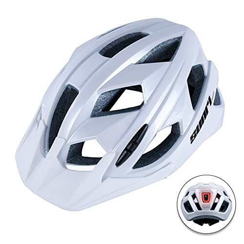 Sunrimoon Mountain Bike Helmet for Men & Women, Adult Bike Helmet with Sun Visor and Googles, Bicycle & Road Bike Helmet for Bike Rider (Adjustable Size 21.5-24 inches)