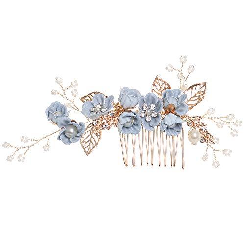 Luxus-Haarnadel Blauer Blume Haarkämme Kopfschmuck Prom Braut Hochzeit Haarschmuck Goldblätter Haarschmuck (blau)